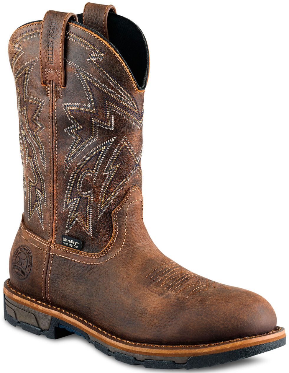 Irish Setter by Red Wing Shoes Men's Distressed Brown Marshall Work Boots - Steel Toe , Brown, hi-res