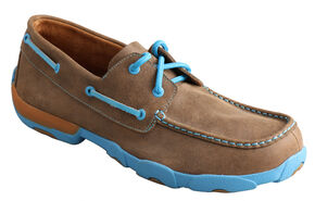 Twisted X  Men's Brown and Neon Blue Driving Mocs, Bomber, hi-res