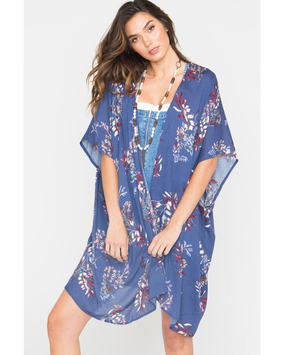 Sage the Label Women's Thea Floral Kimono, Navy, hi-res