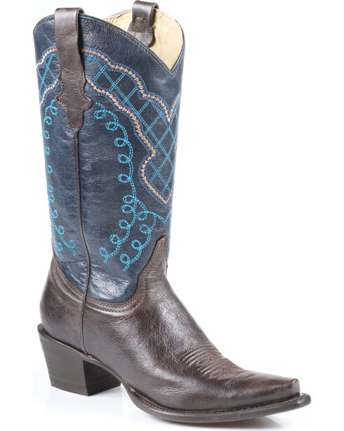 Stetson Fawn Blue Cowgirl Boots - Snip Toe, Brown, hi-res