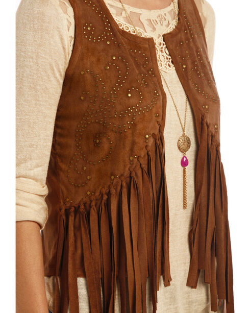 Rock and Roll Cowgirl Brown Miscrosuede Fringe Vest , Brown, hi-res