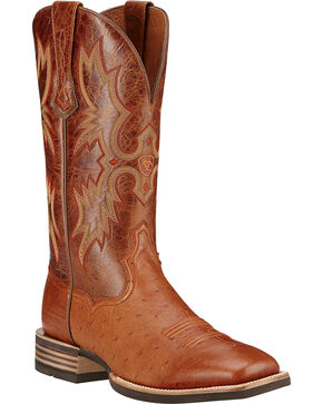 Ariat Men's Tombstone Smooth Ostrich Western Boots - Square Toe, Brandy, hi-res