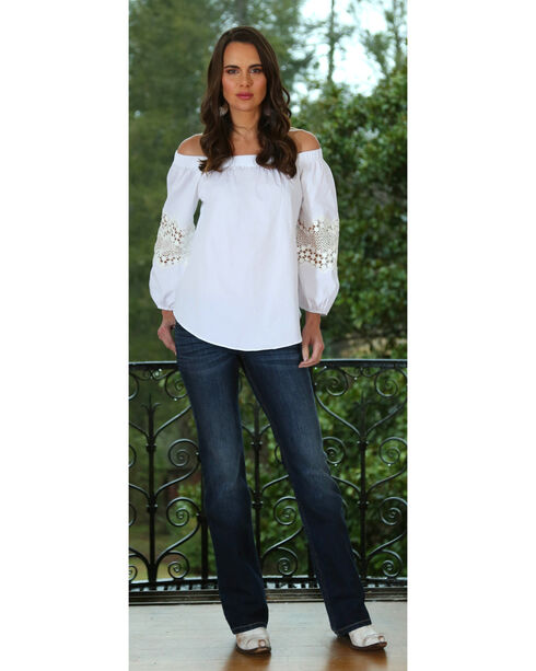 Wrangler Women's Off the Shoulder Top with Crochet Trim, Ivory, hi-res