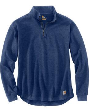 Carhartt Men's Tilden Long Sleeve Mock Neck Quarter Zip Sweatshirt, Dark Blue, hi-res