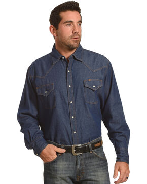 Ely Cattleman Men's Solid Denim Long Sleeve Shirt , Dark Blue, hi-res