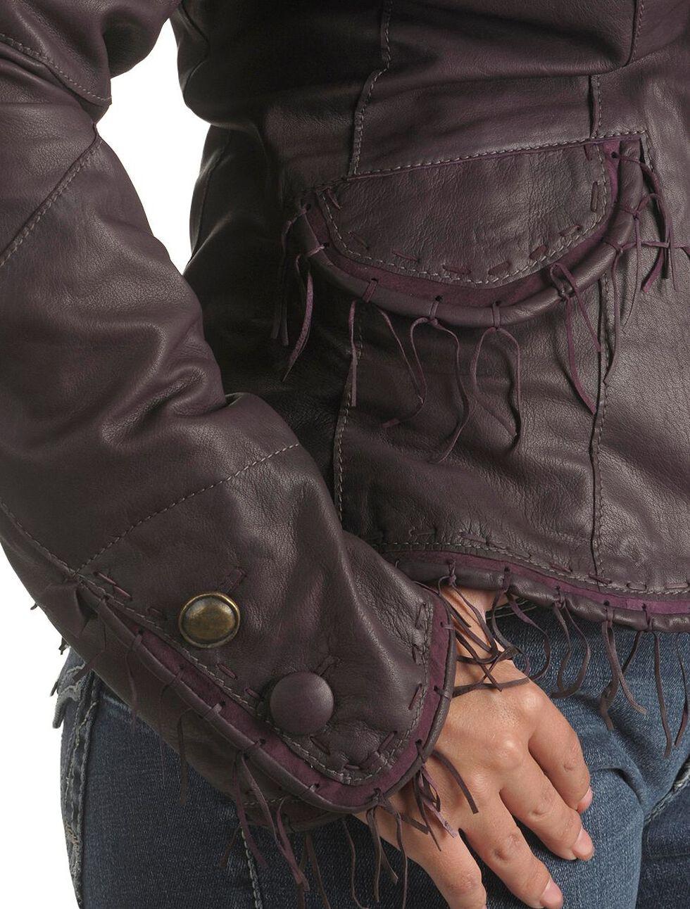 Scully String Fringe Leather Jacket, Eggplant, hi-res