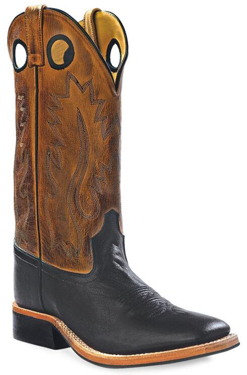 Old West Men's Round Hole Western Cowboy Boots - Square Toe, Black, hi-res