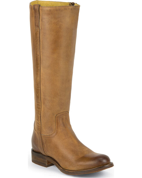 Justin Women's Tall Leather Riding Boots - Round Toe, Tan, hi-res