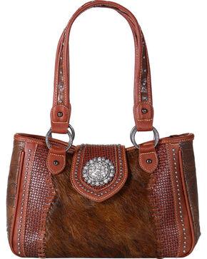 Shyanne Women's Embossed Hair-on-Leather Handbag, Brown, hi-res