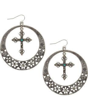 Shyanne Women's Cross & Hoop Earrings, Silver, hi-res