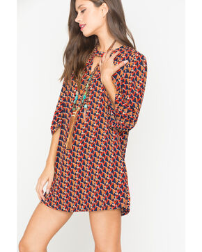 Miss Me Multi Red 3/4 Sleeve Printed Shift Dress, Multi, hi-res