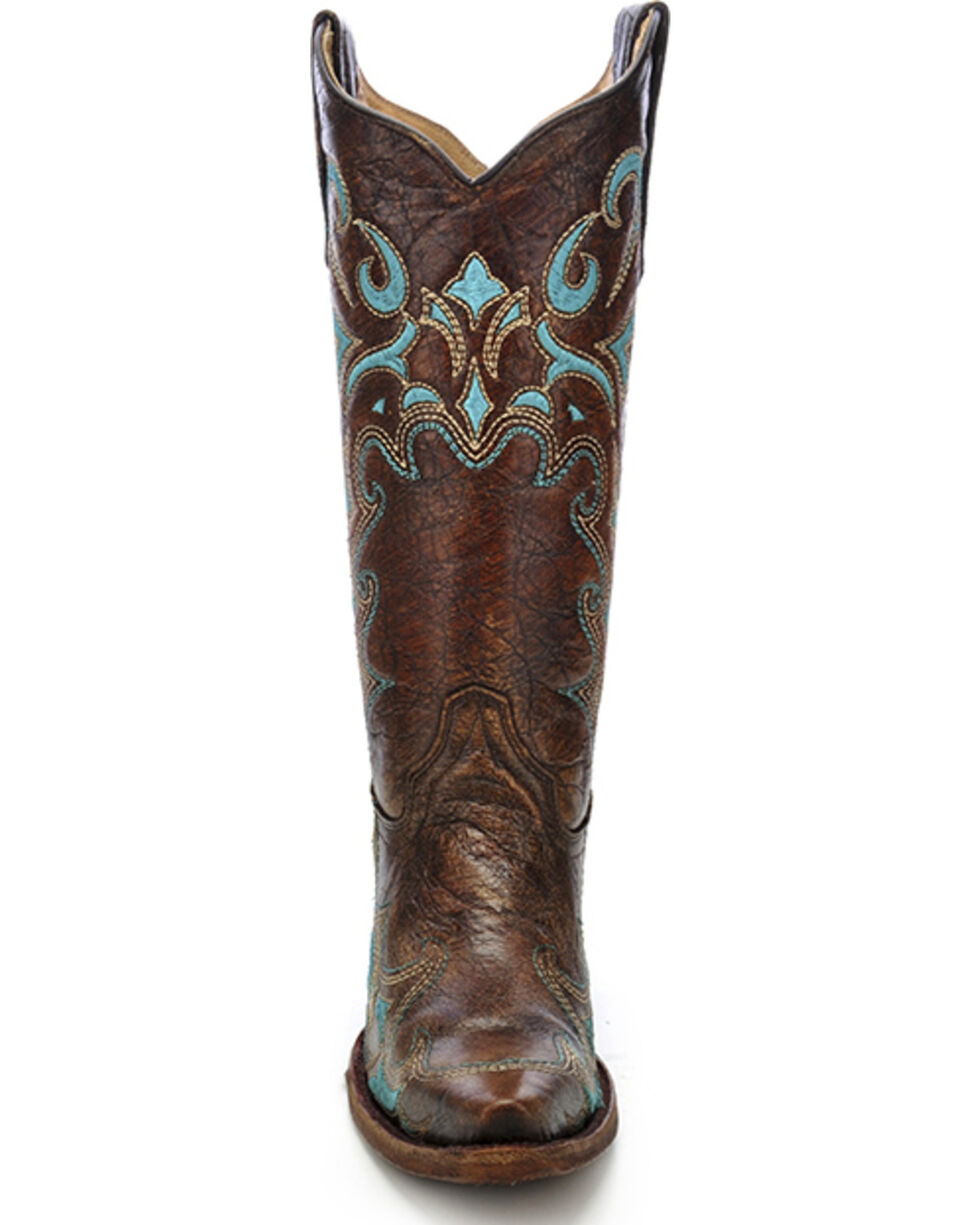 Circle G Embroidered Cowgirl Boots - Snip Toe, Brown, hi-res