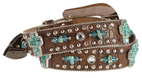 Nocona Turquoise-hue Stone Cross & Croc Print Leather Belt, Brown, hi-res