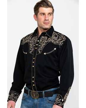 Scully Embroidered Scroll Western Shirt, , hi-res