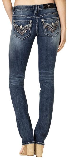 Miss Me Women's Dark Wash Flap Pocket Straight Jeans, Blue, hi-res