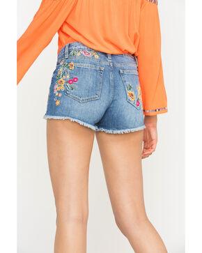 Miss Me Women's Flower Embroidered Denim Shorts , Blue, hi-res