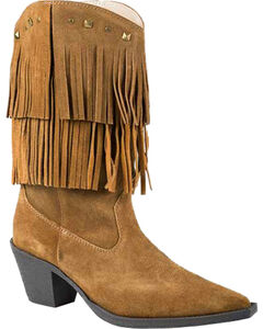 Roper Tan Suede Fringe Cowgirl Boots - Pointed Toe, , hi-res