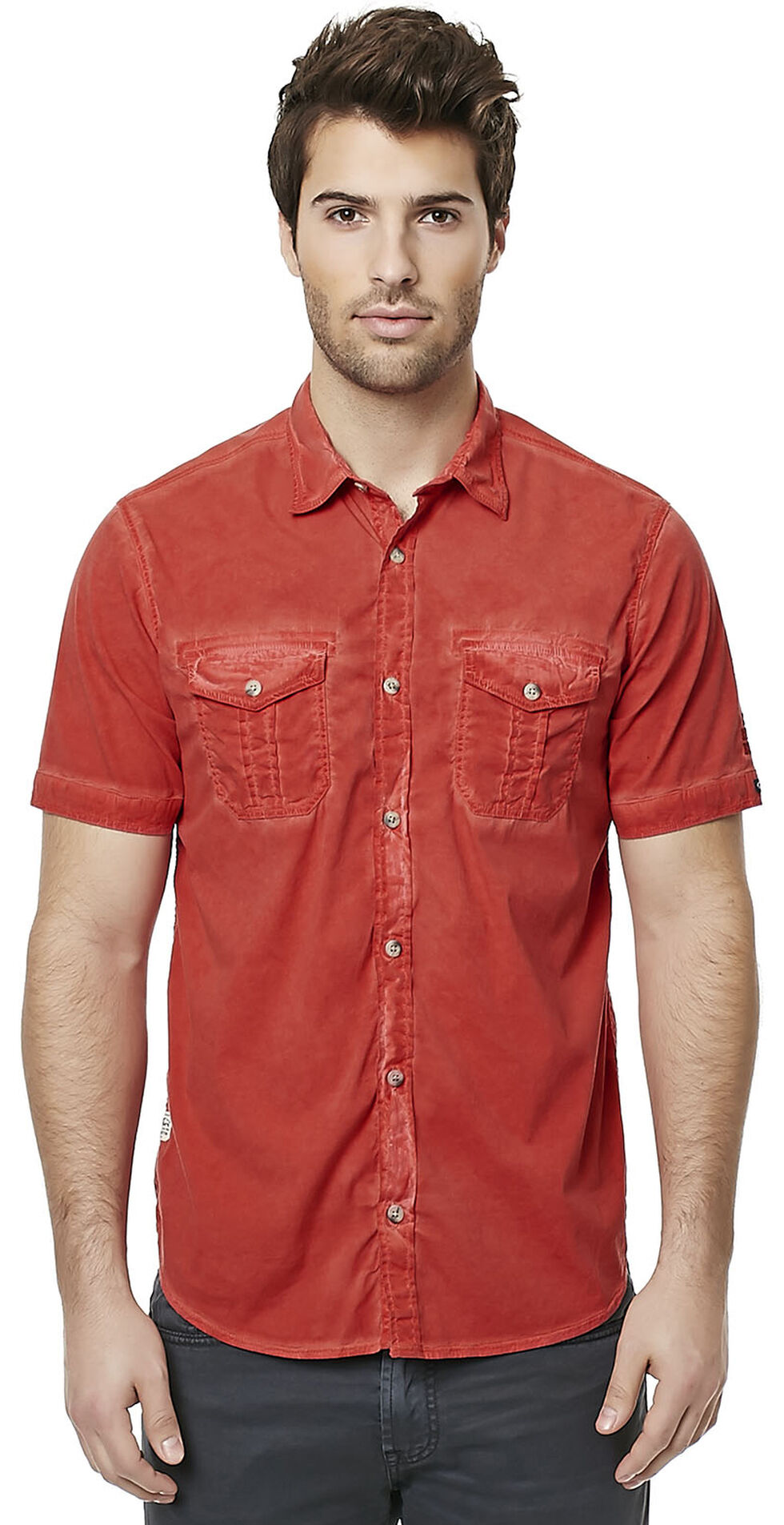 Buffalo Men's Red Sakud Short Sleeve Shirt , Red, hi-res