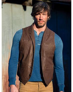 Ryan Michael Men's Tumbled Leather Vest , Brown, hi-res