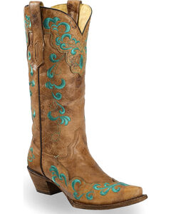 Corral Vintage Brown Scroll Overlay Cowgirl Boots - Snip Toe, Tan, hi-res