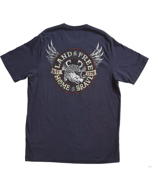 Rodeo Rebel Men's Land of the Free Short Sleeve T-Shirt, Blue, hi-res