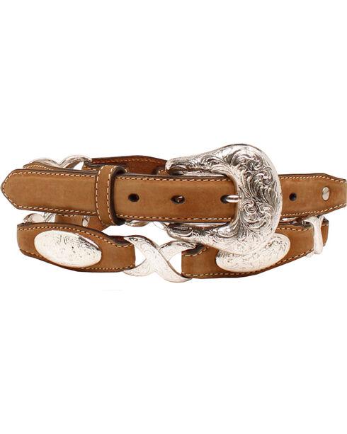 """Ariat 1 1/2"""" Oval Concho Linked Belt, Tan, hi-res"""