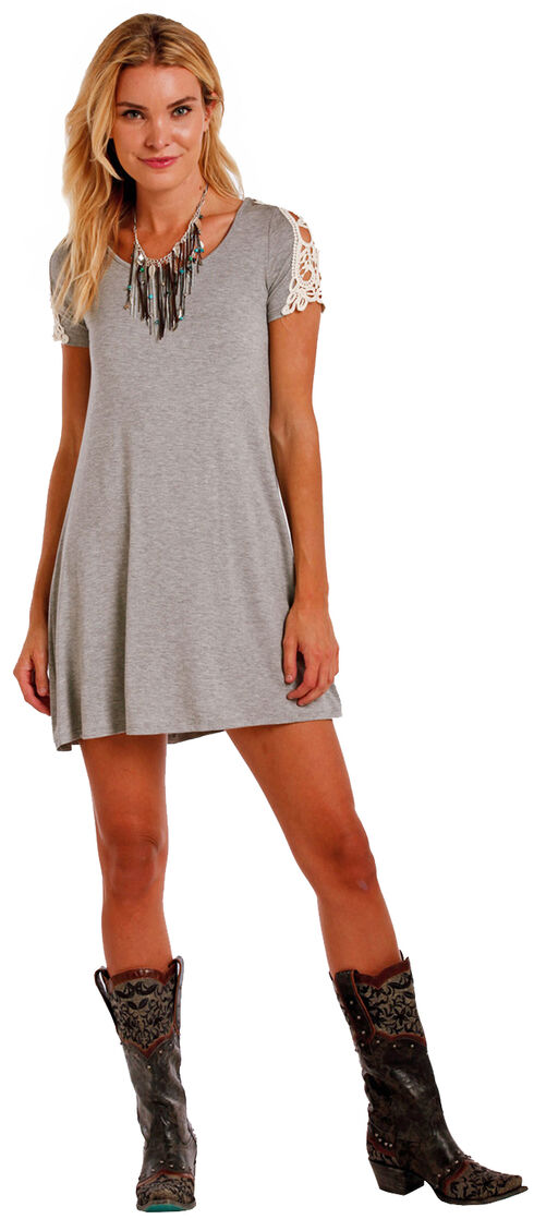 Panhandle Slim Women's Cap Sleeve Lace Inset Swing Dress , Grey, hi-res