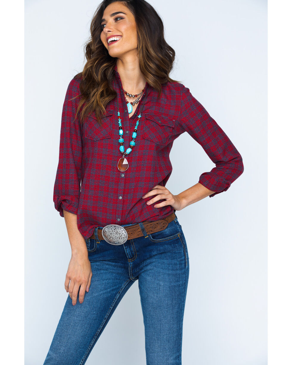 Ryan Michael Women's Red Mountain Jaspe Plaid Western Snap Shirt, Red, hi-res