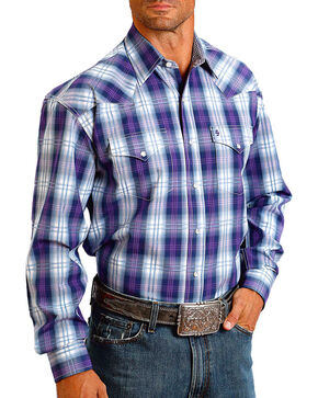 Stetson Men's Purple Ombre Plaid Long Sleeve Western Shirt, Purple, hi-res
