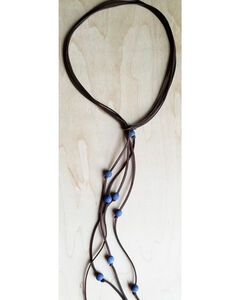 Jewelry Junkie Women's Blue Frosted Lapis Lasso Necklace , Blue, hi-res