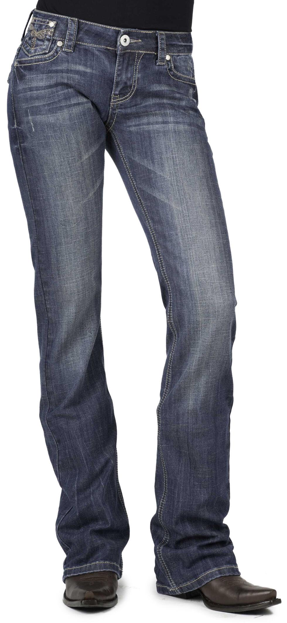 Stetson Women's 818 Rhinestone Boot Cut Jeans - Plus, Denim, hi-res