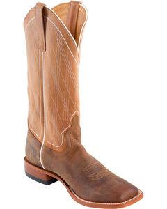Horse Power Men's Distressed Bison Diamond Stitch Cowboy Boots - Square Toe, Brown, hi-res