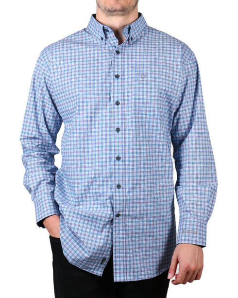 Noble Outfitters Men's Plaid Long Sleeve Shirt, Blue, hi-res