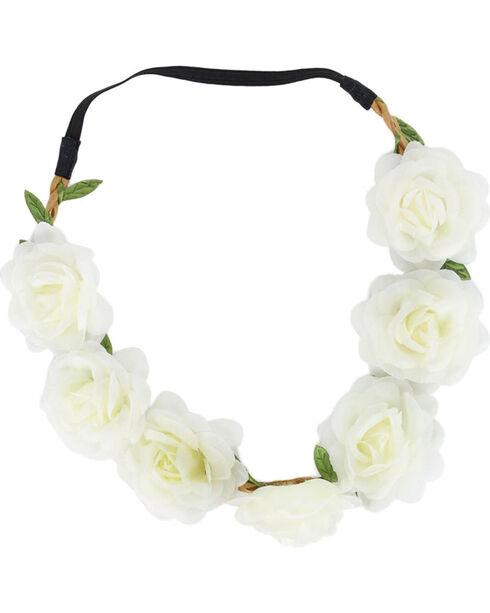 Shyanne Women's White Large Rose Headband , White, hi-res