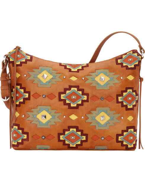 American West Women's Adobe Allure Zip-Top Shoulder Bag, Tan, hi-res