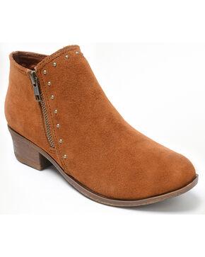Minnetonka Women's Brie Side Zip Stud Boots - Round Toe, Brown, hi-res
