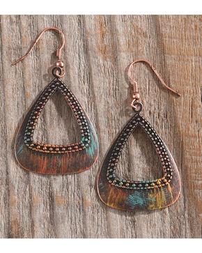 Shyanne Women's Patina Triangular Earrings, Rust Copper, hi-res