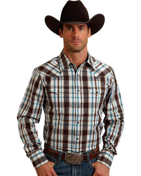 Stetson Men's Original Rugged Brown Plaid Print Western Shirt, Brown, hi-res