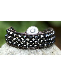 InspireDesigns Women's Threaded Cuff , Black, hi-res