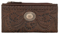 American West Women's Chestnut Tooled Foldover Snap Closure Wallet , , hi-res