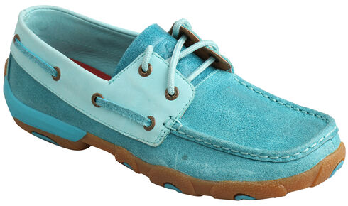 Twisted X Women's Ocean Blue Driving Mocs , Blue, hi-res