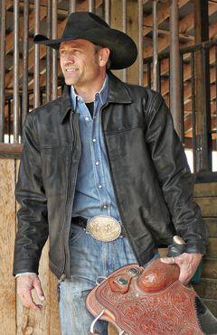 STS Ranchwear Men's Rifleman Black Leather Jacket - Big & Tall - 2XL & 3XL, Black, hi-res