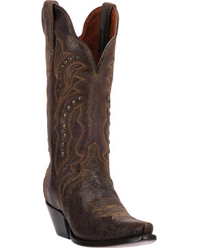 Dan Post Carisma Studded Shaft Cowgirl Boots - Snip Toe, Brown, hi-res