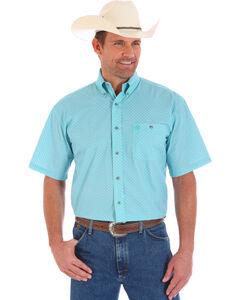 Wrangler Men's Turquoise George Strait Short Sleeve Shirt , Turquoise, hi-res