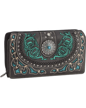 Montana West Women's Black Embroidered Trifold Wallet , Black, hi-res