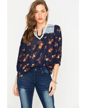 Miss Me Women's 3/4 Sleeve Floral Metallic Top , Navy, hi-res