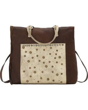American West Women's Soft Zip Top Bagpack, Distressed Brown, hi-res