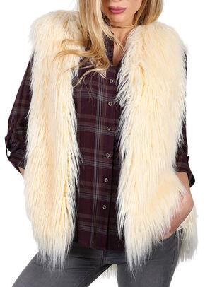 Shyanne Women's Faux Fur Vest, Ivory, hi-res