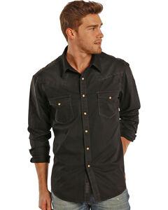 Rock & Roll Cowboy Men's Black Dyed Twill Western Shirt, Black, hi-res