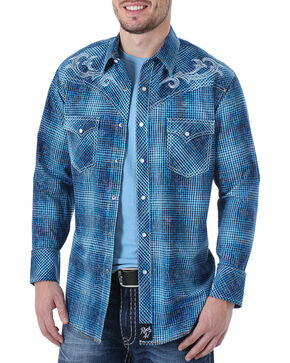 Rock 47 by Wrangler Men's Plaid Embroidered Long Sleeve Western Shirt - Tall, Blue, hi-res